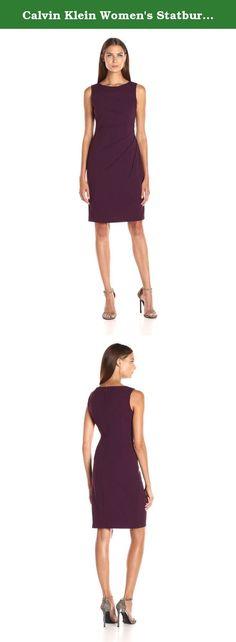 Calvin Klein Women's Statburst Sheath Dress, Aubergine, 6. Sleeveless round neck scuba crepe sheath with starburst detail.