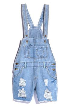 ROMWE | Ripped Pocketed Light-blue Denim Jumpsuit, The Latest Street Fashion I must have this asap. Omggggg