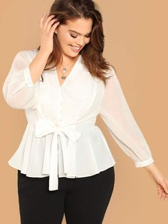 Shop Plus Button Front Belted Peplum Top online. SHEIN offers Plus Button Front Belted Peplum Top & more to fit your fashionable needs. Peplum Tops, Peplum Blouse, Ruffle Blouse, Peplum Plus Size, Plus Size Blouses, Plus Size Fashion For Women, Plus Size Women, Plus Size Tips, Mode Hijab