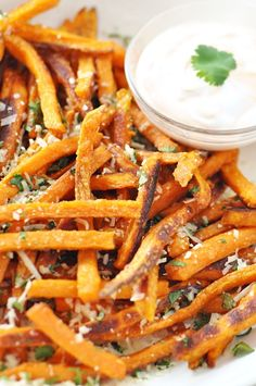 baked sweet potato fries with parmesan & cilantro
