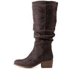 Charlotte Russe Gray Ruched Contrast-Tab Riding Boots by Charlotte Russe at Charlotte Russe