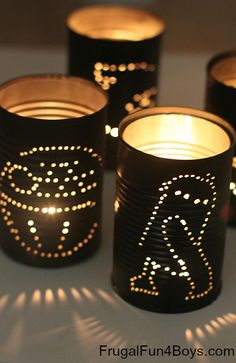 These lanterns are simple for bigger kids to make (with some adult supervision). To light them up, use flameless tea lights. #StarWars #Crafts