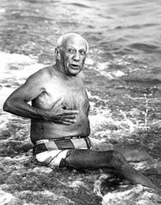 Picasso on the Beach, Cannes, 1965 by Lucien Clergue #summer