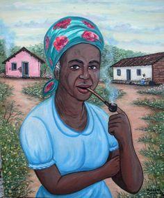 """O título desta minha pintura é """"Mãe Preta do  Quilombo"""" e ela foi feita para um trabalho escolar que falava sobre os Quilombos no interior da Bahia - Brasil."""