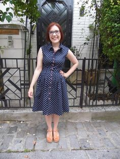 Encore Tricolore dress - McCall's 6696 in polka dot cotton sateen with anchor buttons