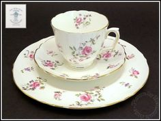 Pink Rose F7295 Smooth 3pc Tea Trio China Cup & Saucer by Crown Staffordshire #Staffordshire