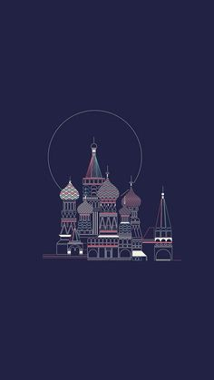 Saint Basil's Cathedral. Tap image for more Minimal Wallpapers of Moscow, Paris and London by Verónica - @mobile9 | Wallpapers for iPhone 5/5S, iPhone 6 & 6 Plus #cartoon #minimal #travel