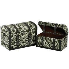 Leather Zebra Print Storage Trunks