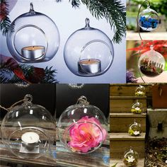 6Pcs Clear Hanging Glass Baubles Ball Candle Tealight Holder Home Wedding Decor