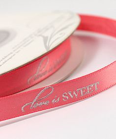 Personalized Wedding Favor Ribbon Sweet Favors Pink Theme Colors