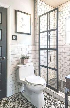 Amazing Small Master Bathroom Shower Remodel Ideas and Design 34 Bathroom Design Small, Bathroom Interior Design, Modern Bathroom, Master Bathroom, Small Bathrooms, Simple Bathroom, Bathroom Designs, White Bathroom, Basement Bathroom