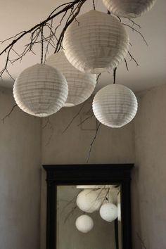 Suspension nature, lampe boule papier de riz
