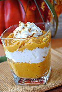 Pumpkin Mousse Shooters recipe from eat yourself skinny.  A low cal alternative to festive holidays desserts.