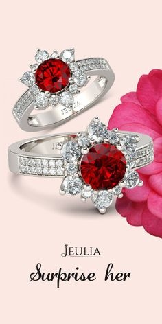 Jeulia Flower Design 1.26CT Round Cut Created Ruby Engagement Ring #Jeulia