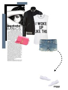 """""""I Woke Up Like This"""" by marion-fashionista-diva-miller ❤ liked on Polyvore featuring Chanel, Yves Saint Laurent, Private Party, True Religion, Vans, denim, shorts, springfashion, whitetshirt and fashionset"""