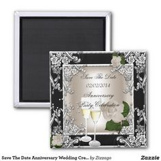 Save The Date Anniversary Wedding Cream Black 2 Inch Square Magnet