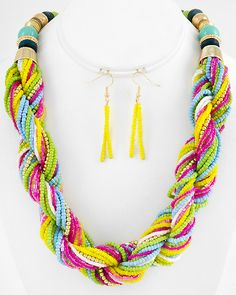 Gold Tone / Multi Color Seed Beads / Lead Compliant / Multi Strand / Necklace & Fish Hook Earring Set