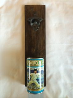 Wall Mounted Bottle Opener Featuring A New York Yankees Casey's Lager Beer Can Cap Catcher Father's Day Or Groomsman Gift