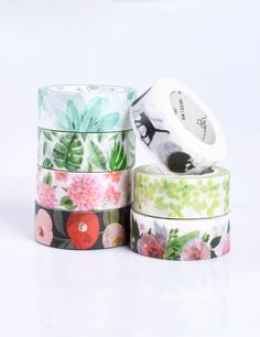 Folk Style Floral Washi Tape Skinny Wide Planner Craft Scrapbooking Set of 4