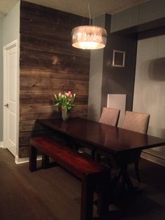 Barnboard feature wall, dining room. Small spaces can be beautiful.