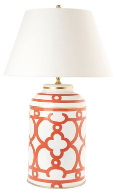 One Kings Lane - Dana Gibson - Ming Tea Caddy Lamp, Orange