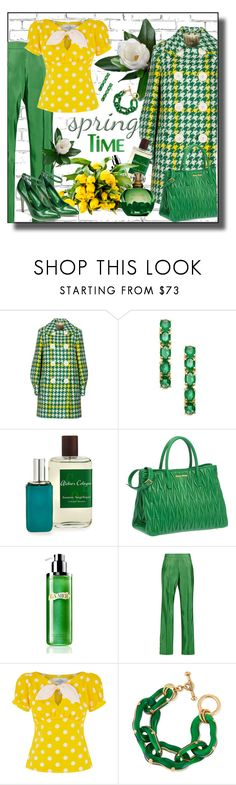 """""""Springtime 3/12/17"""" by franceseattle ❤ liked on Polyvore featuring WALL, Miu Miu, Anika and August, Atelier Cologne, La Mer, Rosie Assoulin, Lalé, Oscar de la Renta and Shellys"""