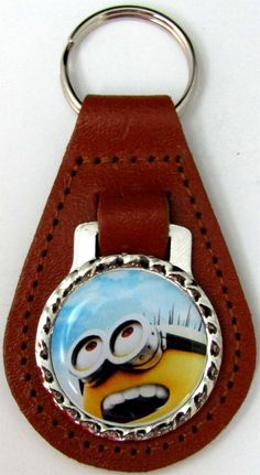 Minions Jerry Happy Sky Brown Leather Key Fob Chain Steel Ring FOB-0242