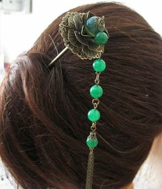 Jade hair fork Hair stick Green by pepperlonely11 on Etsy