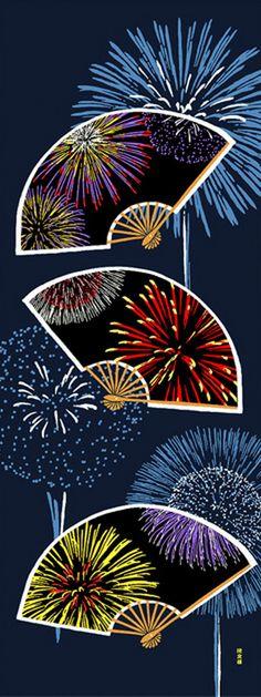 Japanese Tenugui Towel Cotton Fabric, Fireworks Pattern, Folding Fan, Hand Dyed Fabric, Art Wall Fabric, Home Decor, Headband, Scarf, h394