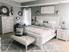 Robin Long Personalizes Master Bedroom With Love Ashley HomeStore - bedroom furniture sets Farmhouse Master Bedroom, Master Bedroom Makeover, Home Bedroom, Room Decor Bedroom, Bed Room, Master Bedrooms, Modern Bedroom, Master Bedroom Color Ideas, Long Bedroom Ideas