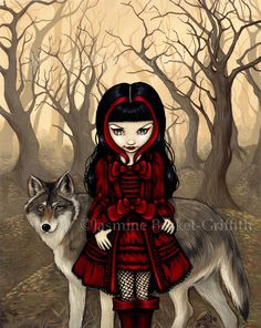 Jasmine Becket Griffith Red Riding Hood in Autumn Print