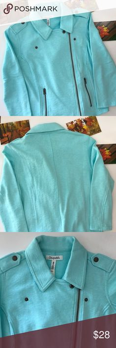 """Aeropostale: Light aqua blue cotton zipper jacket Aeropostale: Light aqua blue cotton zipper jacket. Size medium. Condition: new with tags. Did notice a mark on the jacket ( pic 8). Approximate measurements laying flat: bust 18"""" length 20"""" sleeve 18 3/4"""". Sorry no trades or modeling. Aeropostale Jackets & Coats"""