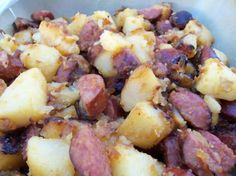 Fried Potatoes With Onion and Kielbasa from Food.com: A Hungarian recipe from Eva's Hungarian Kitchen site. You could use leftover boiled potatoes.