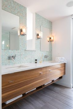 "Floating vanity. Pale sea-glass walls. rustic ""wood"" tile floor"