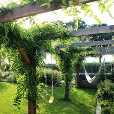 Rural garden with wisteria-covered pergola gazebo (Wisteria sinensis). A hammock hangs from the pergola and