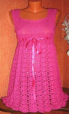 Delicadezas en crochet Gabriela: Vestido rosa sin mangas esquemas en crochet