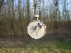 Real flower necklace - Alpine squill flower - Pressed flower jewelry - Floral…