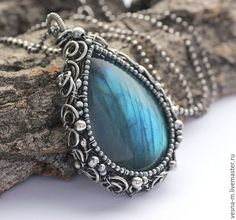 Купить Подвеска из лабрадора и серебра - голубой, синий, серебряный, серебро 925 пробы, серебро