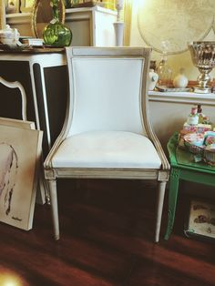 Vintage Second Empire style chair, refinished with Chalk Paint® by Annie Sloan in Paris Grey and dark wax.