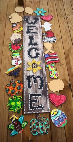 Excited to share this item from my etsy shop WELCOME Sign Porch Leaner Attachments All Seasons PORCH SIGN yard art porch decor outdoor home sign welcome interchangeable charms Yard Art Crafts, Crafts To Make, Arts And Crafts, Diy Crafts, All Season Porch, Welcome Signs Front Door, Door Signs, Thrift Store Crafts, Disney Home