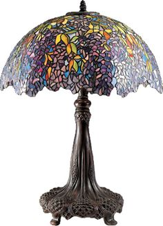 Quoizel European Style Table Lamp $950.00 Reproduced in great detail and breathtaking elegance the classic Laburnum Table lamp. This museum quality showpiece is truly stunning, with nearly 2,000 pieces of handcut art glass in the shade. The original pattern for this lamp was produced in limited numbers from 1900-1910. It was first done in vibrant yellows, and then in soft pinks and lavenders as seen here in these brilliantly cascading blossoms. Base finished in authentic bronze patina.