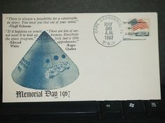 GRISSOM, WHITE & CHAFFEE Death SPACE Cover 1967 NASA MEMORIAL DAY Cachet CAPE CANAVERAL