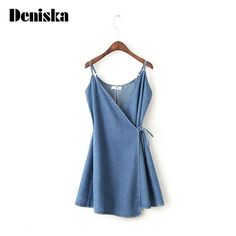 >> Click to Buy << DENISKA Casual Dress Womens Clothing Sleeveless Spaghetti Strap A Line Denim Dress Blue Wrap Cami Dress With Tie Detail #Affiliate
