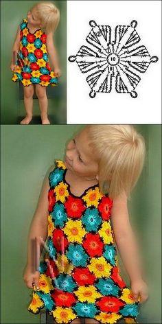 Crochet Dress for Girl + Diagrams Robe en crochet pour fille + diagrammes Crochet Rings, Crochet Cap, Crochet Motifs, Crochet Shirt, Easy Crochet, Crochet Patterns, Crochet Dolls, Crochet Summer Dresses, Crochet Dress Girl