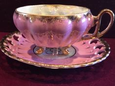 Vintage Royal Sealy Tea Cup 3 Footed Iridescent Pink  Reticulated Saucer Japan #RoyalSealy