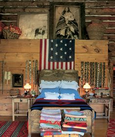 Belts and blankets flag rustic lamps