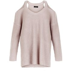 New Look Mid Pink Ribbed Cold Shoulder Jumper ($27) ❤ liked on Polyvore featuring tops, sweaters, mid pink, knit top, pink knit sweater, cut out shoulder sweater, v-neck sweater and pink top