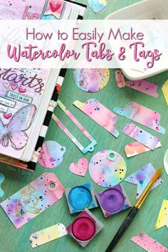 Learn how to easily make colorful Watercolor Tabs and Tags with the video tutorial in post.  Great for journaling, gift wrapping, happy mail swaps, and even your planner! | pitterandglink.com