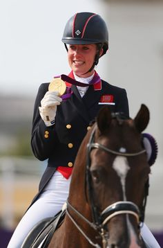 Charlotte Dujardin of Great Britain with gold medal for Individual Dressage