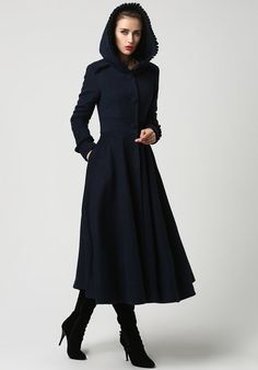 Womens Long Navy Blue Wool Coat with Hood and Ruffle by xiaolizi